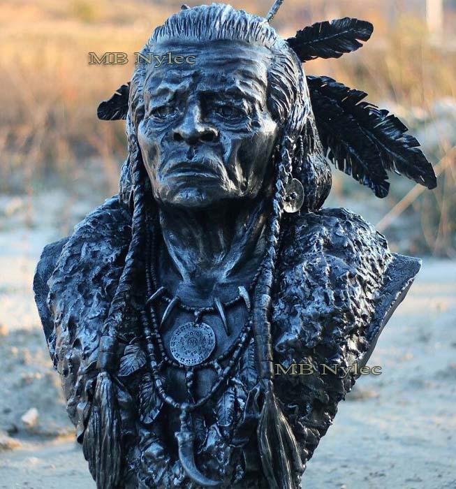 Metallskulpturen  - Büste eines Indianers aus Stahl geschnitzt - Maßstab 1: 1 - Metallarbeiten - Katalognummer Z70