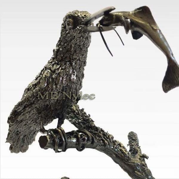 Skulpturen aus Metall - Eisvogel mit Stahlfisch - Metallarbeiten - Katalognummer Z38