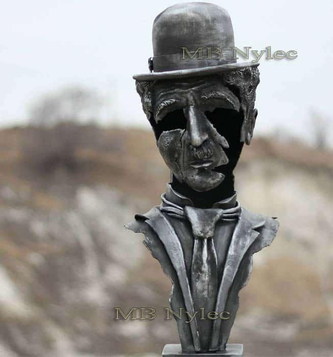 Stahlskulpturen - Charlie Chaplin Büste - Metallfiguren Dębica - Kunstschmiedekunst - Katalognummer Z76