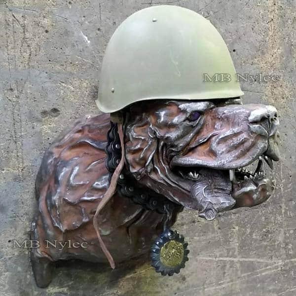Stahlskulpturen - Stahlsoldat Hund - Flachrelief Hund Krieger - Metallarbeiten - Katalog Nr. Z67