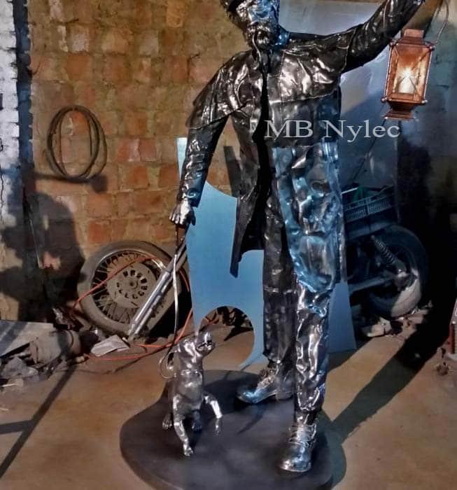 Skulptur - Lamplighter mit einem Stahlhund - Maßstab 1: 1 - Katalognummer Z30